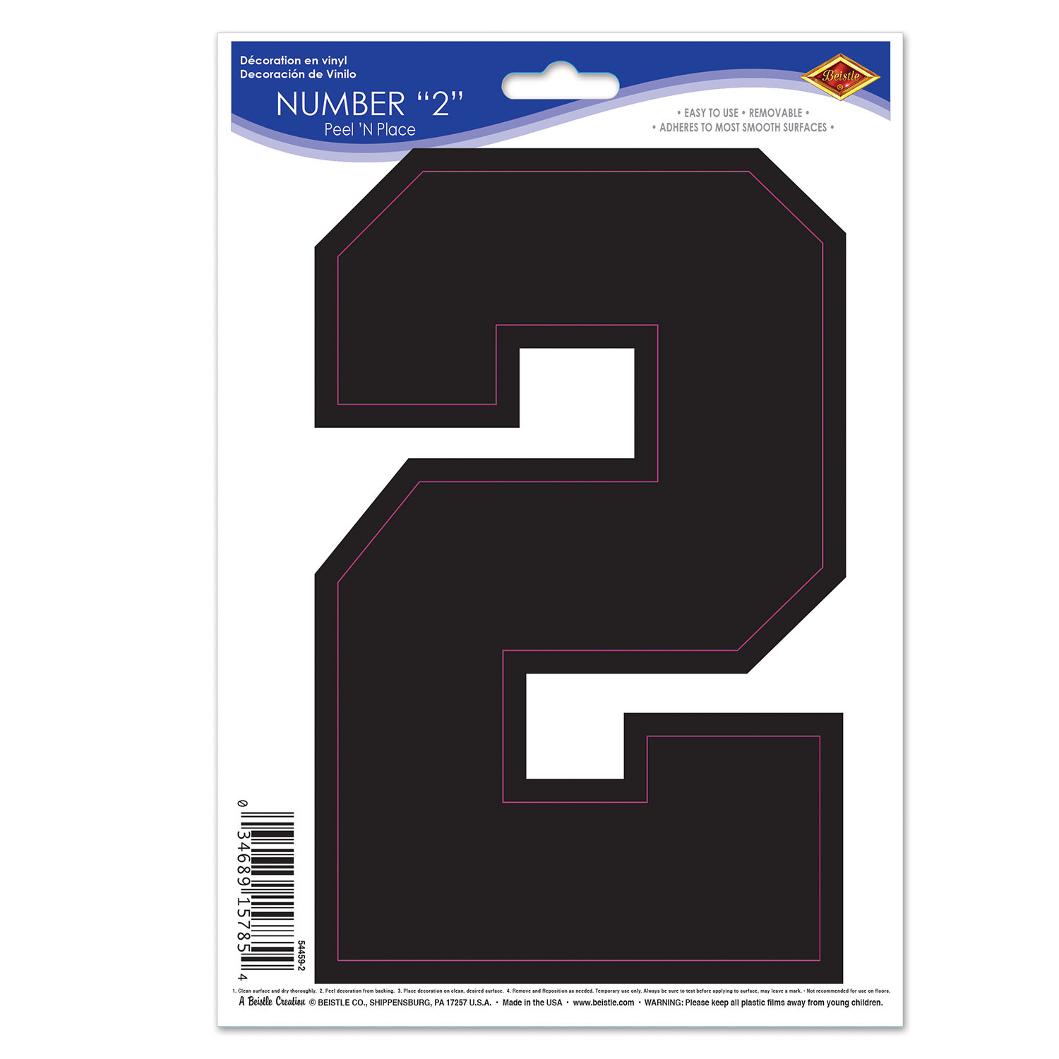 Black  2  Peel N Place (Pack of 12) Sports, Game Day, numbers, stickers, sports number