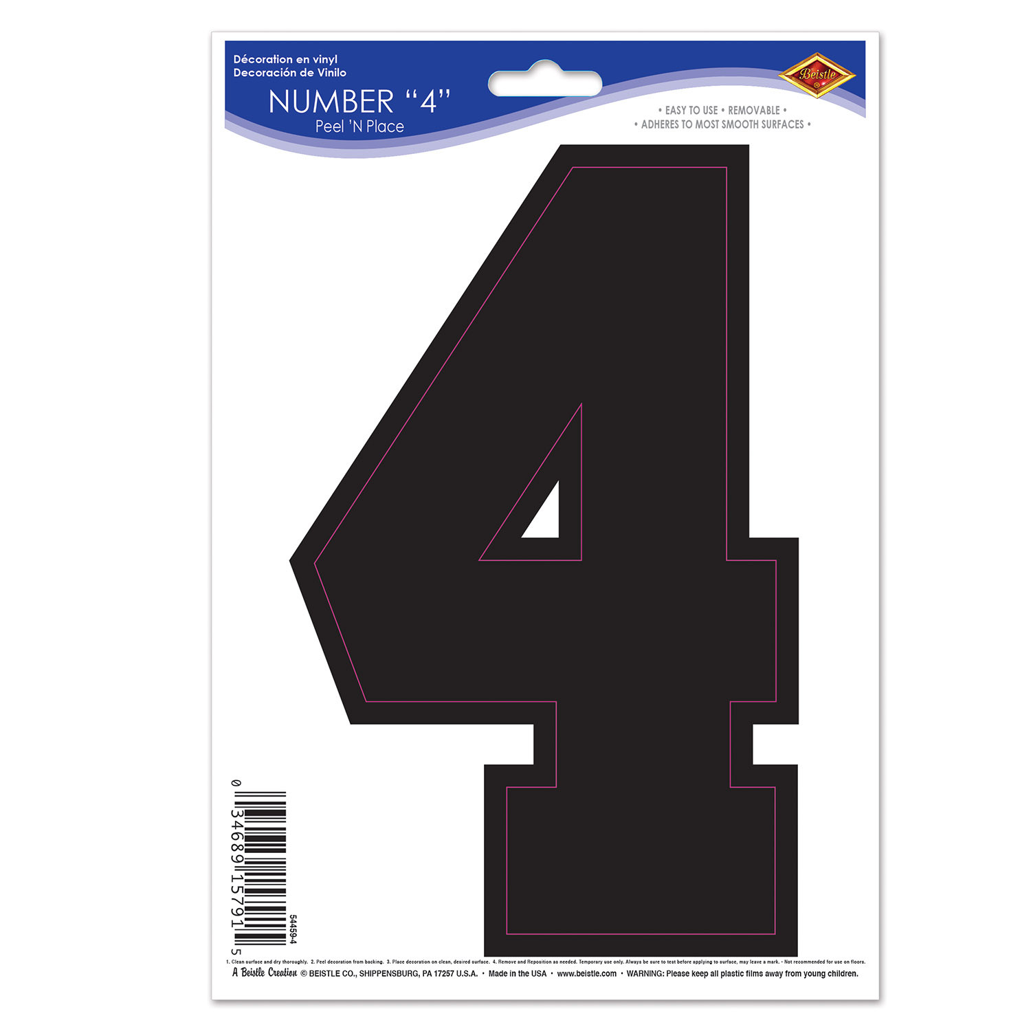 Black  4  Peel N Place (Pack of 12) Peel N Place, 4, Number Clings, Wall Clings, Cheap wall decorations, Inexpensive sports decor, Wholesale party decorations