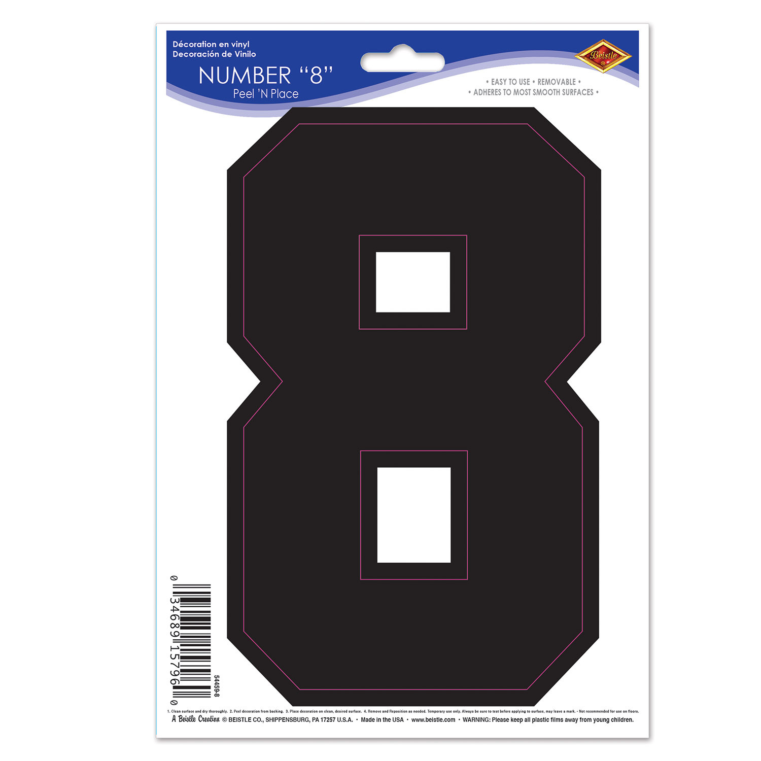 Black  8  Peel N Place (Pack of 12) Peel N Place, 8, Number Clings, Wall Clings, Cheap wall decorations, Inexpensive sports decor, Wholesale party decorations