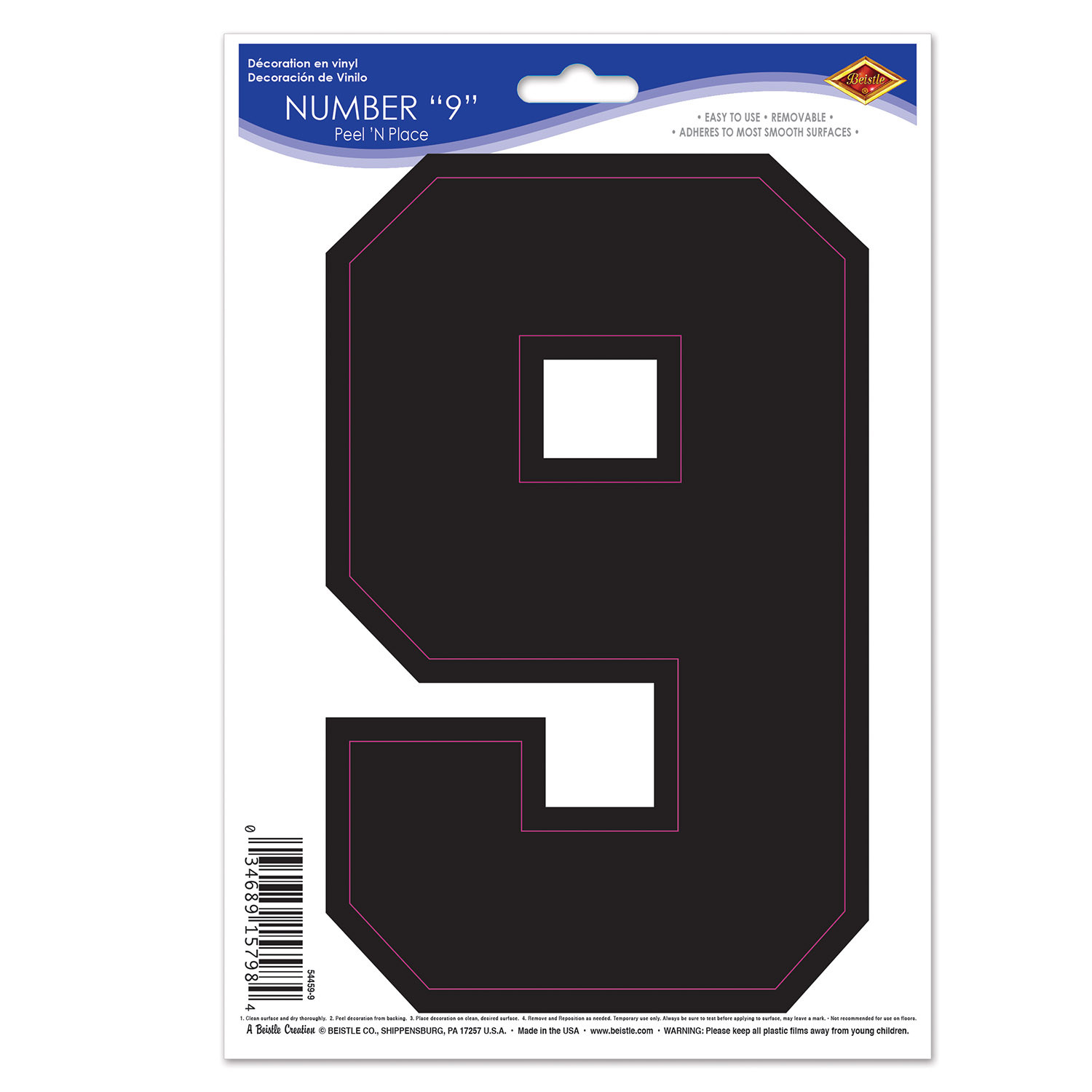 Black  9  Peel N Place (Pack of 12) Peel N Place, 9, Number Clings, Wall Clings, Cheap wall decorations, Inexpensive sports decor, Wholesale party decorations