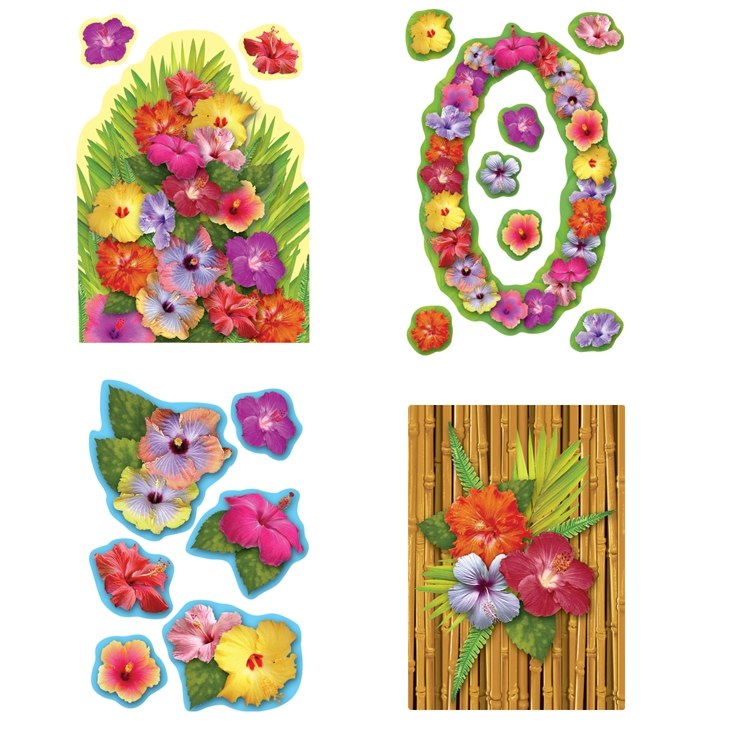 Hibiscus Cutouts (Pack of 216) Hibiscus Cutouts, decoration, luau, new years eve, wholesale, inexpensive, bulk