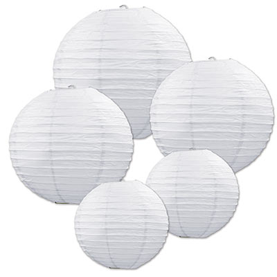 Hanging assorted sized white paper lanterns