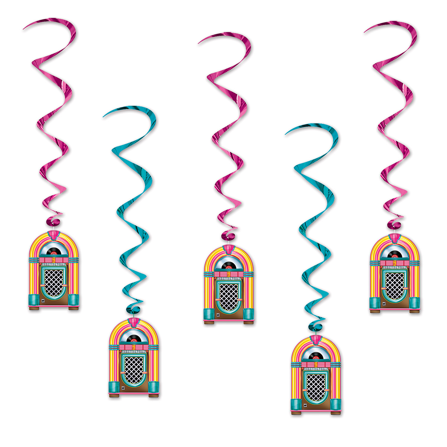 Jukebox Whirls (Pack of 30) jukebox, 50s, rock and role, music, hanging decorations