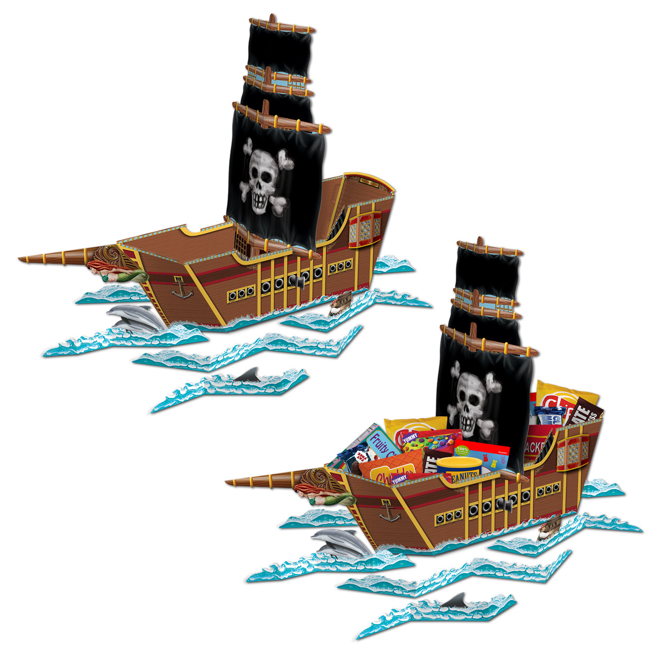 Pirate Ship Centerpiece (Pack of 12) candy holder, table centerpiece, pirate, pirate ship, pirate party