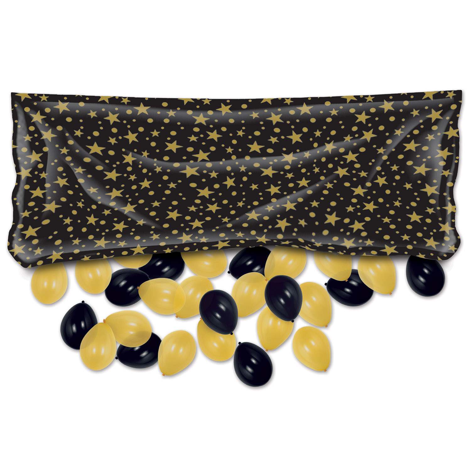 Plastic Balloon Bag w/Balloons (Pack of 1) plastic, balloon, bag, balloons, confetti, black, gold, new years eve, midnight, celebration, stars, wholesale, inexpensive, bulk