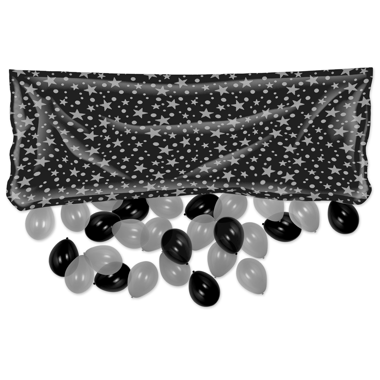 Plastic Balloon Bag w/Balloons (Pack of 1) Plastic Balloon Bag with Balloons, decoration, balloons, new years eve, black, silver, wholesale, inexpensive, bulk