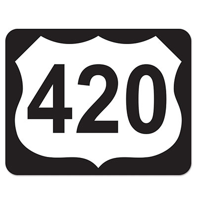 420 Highway Sign Cutout (Pack of 12) 420 Highway Sign Cutout, 420 highway, highway sign, decoration, new years eve, prom, around the world, wholesale, inexpensive, bulk