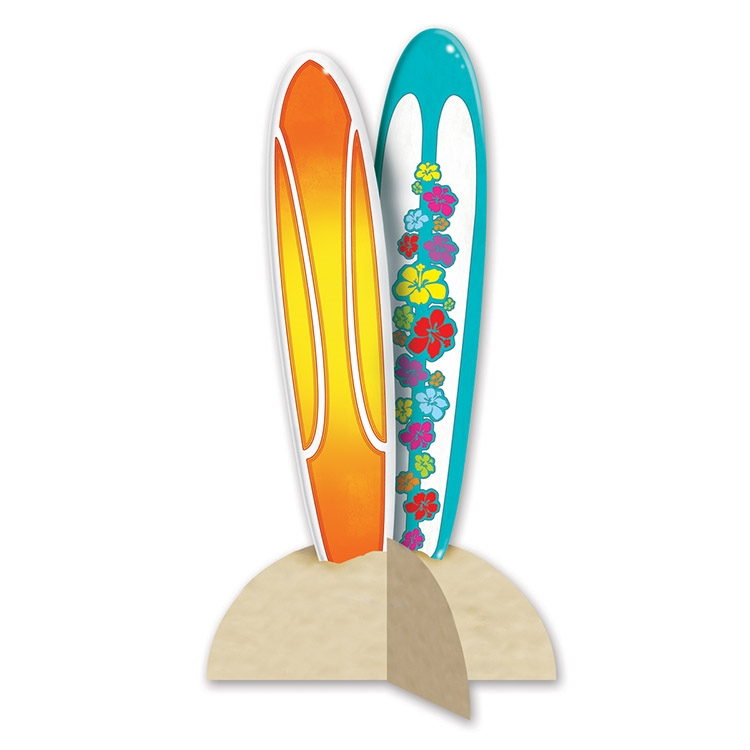 3-D Surfboard Centerpiece (Pack of 12) 3-D Surfboard Centerpiece, luau, new years eve, summer, decoration, wholesale, inexpensive, bulk