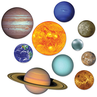 Solar System Cutouts (Pack of 120) Solar System Cutouts, solar system, cutouts, decoration, outer space, wholesale, inexpensive, bulk