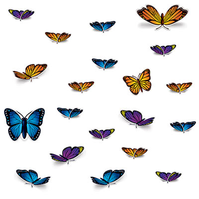 Assorted colors and sizes Butterfly Cutouts wall decorations