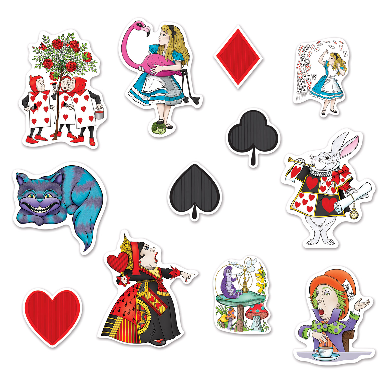 Alice In Wonderland Cutouts (Pack of 144) Alice In Wonderland, Cutouts, Wall Decor, Assorted Alice in Wonderland Decorations, Inexpensive cutouts, Wholesale party supplies, Cheap party supples