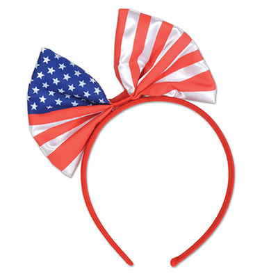 head bopper headband with a bow with the design of the American flag at the top