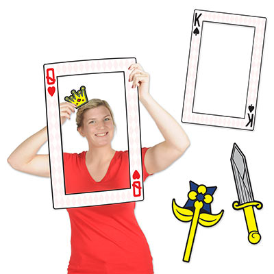 King and Queen rectangle cutout with crown, sword and flower props.