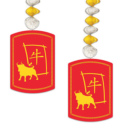 2021 Year Of The Ox Danglers (Pack of 24) 2021 Year Of The Ox Danglers, 2021, year of the ox, danglers, chinese new year, decoration, wholesale, inexpensive, bulk