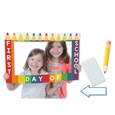 School Days Photo Fun Frame with a boarder that replicates a rainbow set of colored pencils.