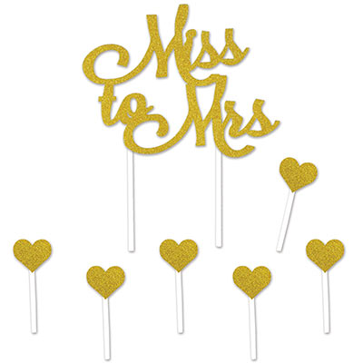 "Miss To Mrs Cake Topper with a golden glittered ""Miss to Mrs"" including six hearts."
