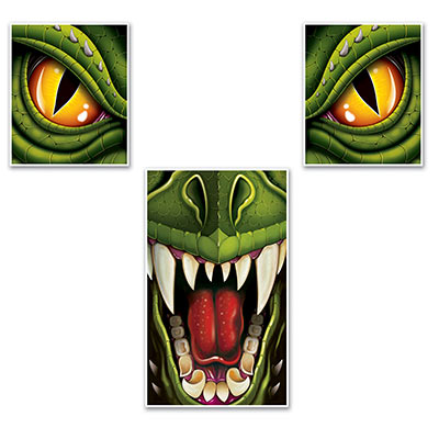 Dragon Window & Door Decor Set with two separate eyes and the mouth.