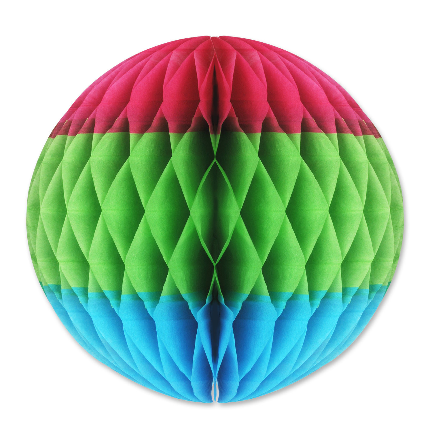 Tri-Color Tissue Ball (Pack of 12) Tri-Color Tissue Ball, decoration, luau, new years eve, wholesale, inexpensive, bulk