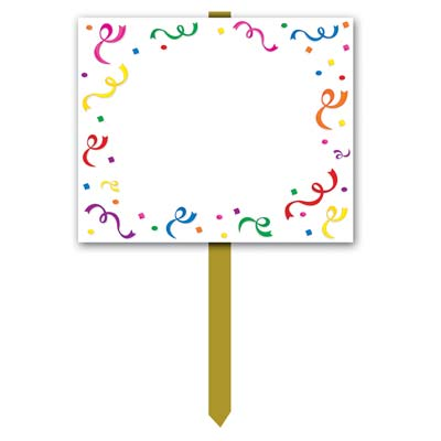 White Blank Yard Sign with confetti of multi-colors boarder including a stick for usage.