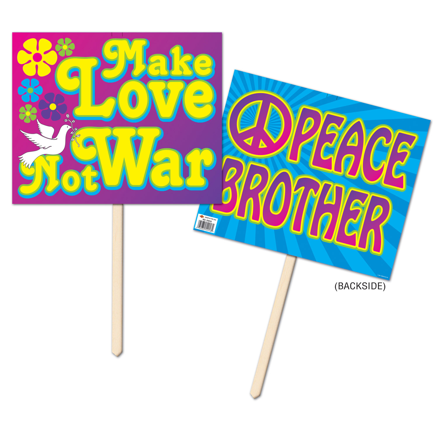 60s Yard Sign (Pack of 6) 1960s Decor, Cheap Yard Sign, Peace Love, Peace Signs, Hippie Decorations, Wholesale party supplies, Inexpensive party goods, Special Event, Anti-War Sign