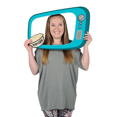 The 50s TV Photo Fun Frame is a boarded photo frame that replicates a 50s television with a card stock cutout of popcorn.