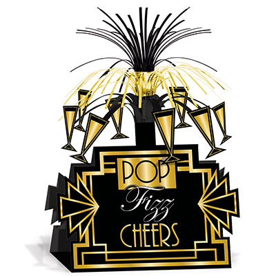 Black and gold centerpiece with cascading metallic strands and card stock black background base with gold and white Pop, Fizz and Cheers.