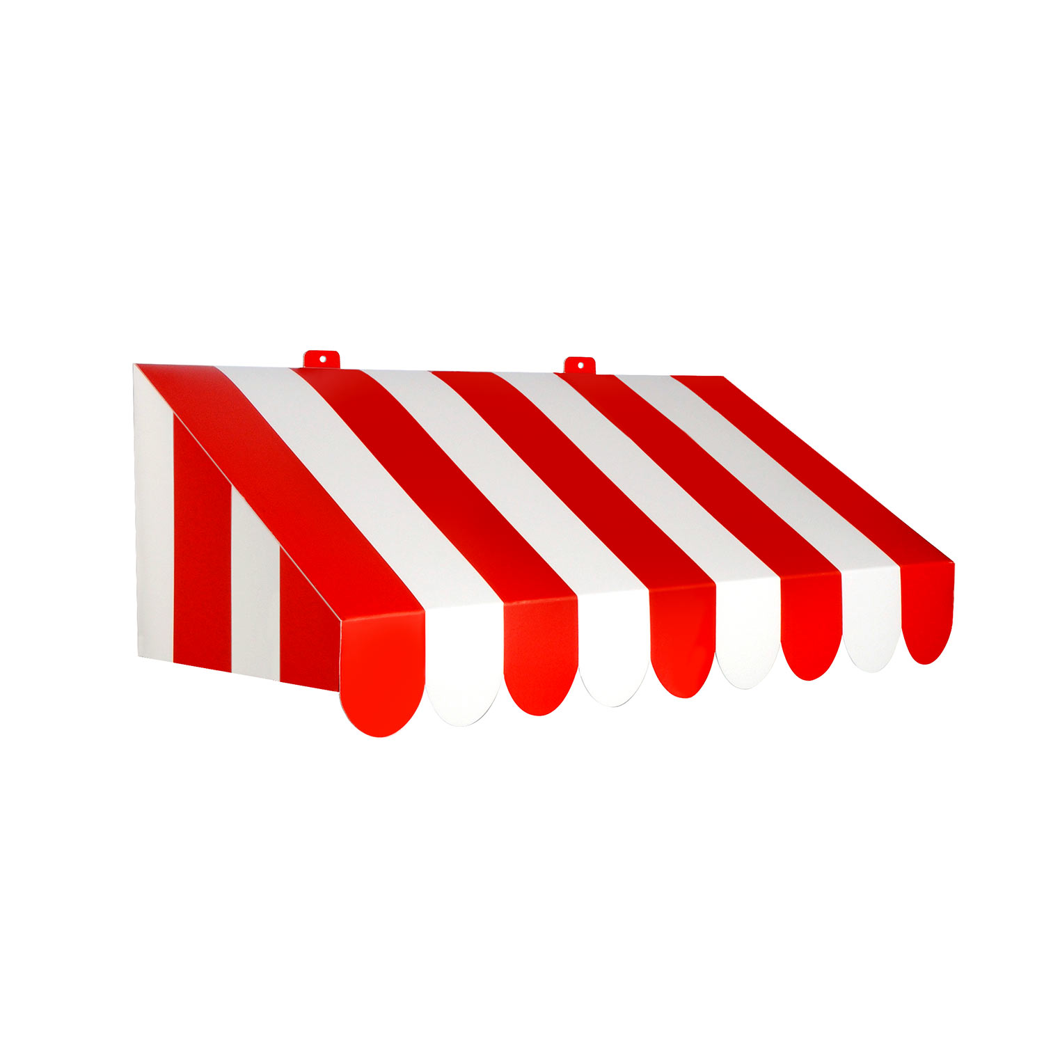 3-D Red & White Awning Wall Decoration designed to replicate carnival strips in red and white.