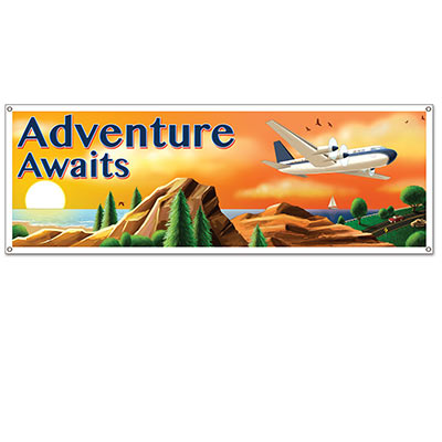 "Around The World Sign Banner reads ""Adventure Awaits"" with a beautiful scenery."