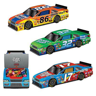 3-D Race Car Centerpieces (Pack of 36) 3-D, Raceing, Car, Centerpieces, sports, party, favor, boxes