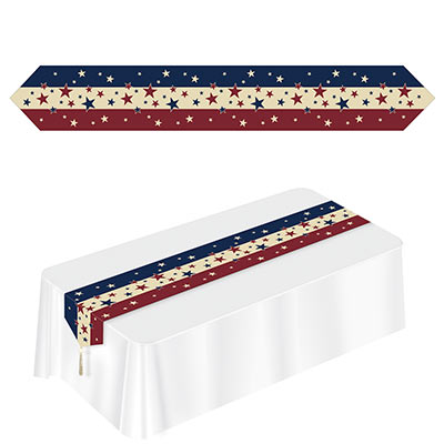 Printed Americana Table Runner has stripes of red, white and blue stripes with stars.