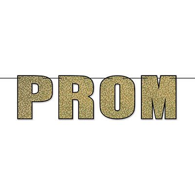 The Prom Streamer is printed with gold glitter with a black outline.