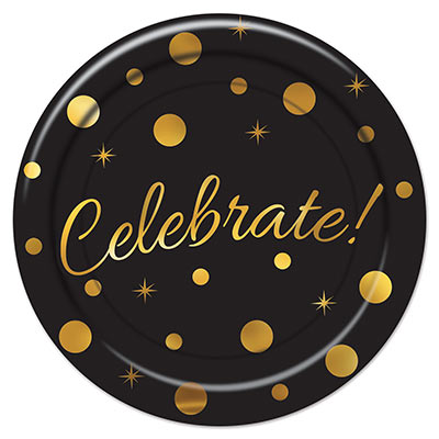 "Dinner plate with a black background and gold dots, stars and ""celebrate""."