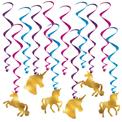 Unicorn Whirls (Pack of 72) Unicrons, magic, gold, sparkling, birthday, princess, purple, pink, blue