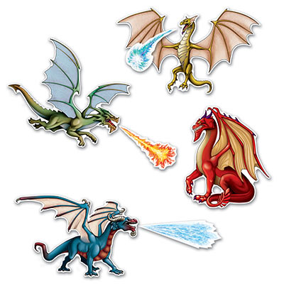 Dragon Cutouts with four different cutout dragons.