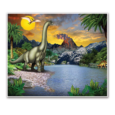 Dinosaur Insta-Mural with dinosaurs and a Mesozoic scenery look.