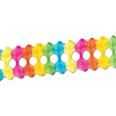 Arcade Garland made of bright colored tissue material.