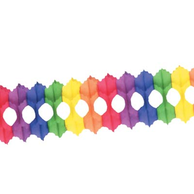 Arcade Garland made of multi-color patterned tissue material.