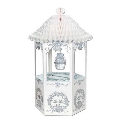 Wishing Well w/Tissue Top made of tissue and card stock material in white with beautiful silver accents.