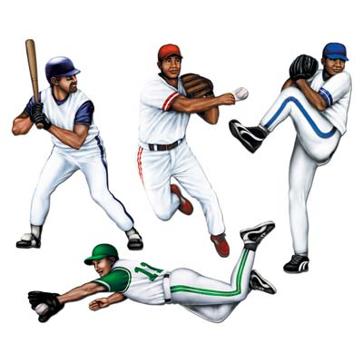 Baseball Cutouts of four different baseball players.