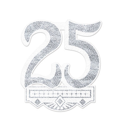 "25th Anniversary Crest is white with silver ""25"" and accents."