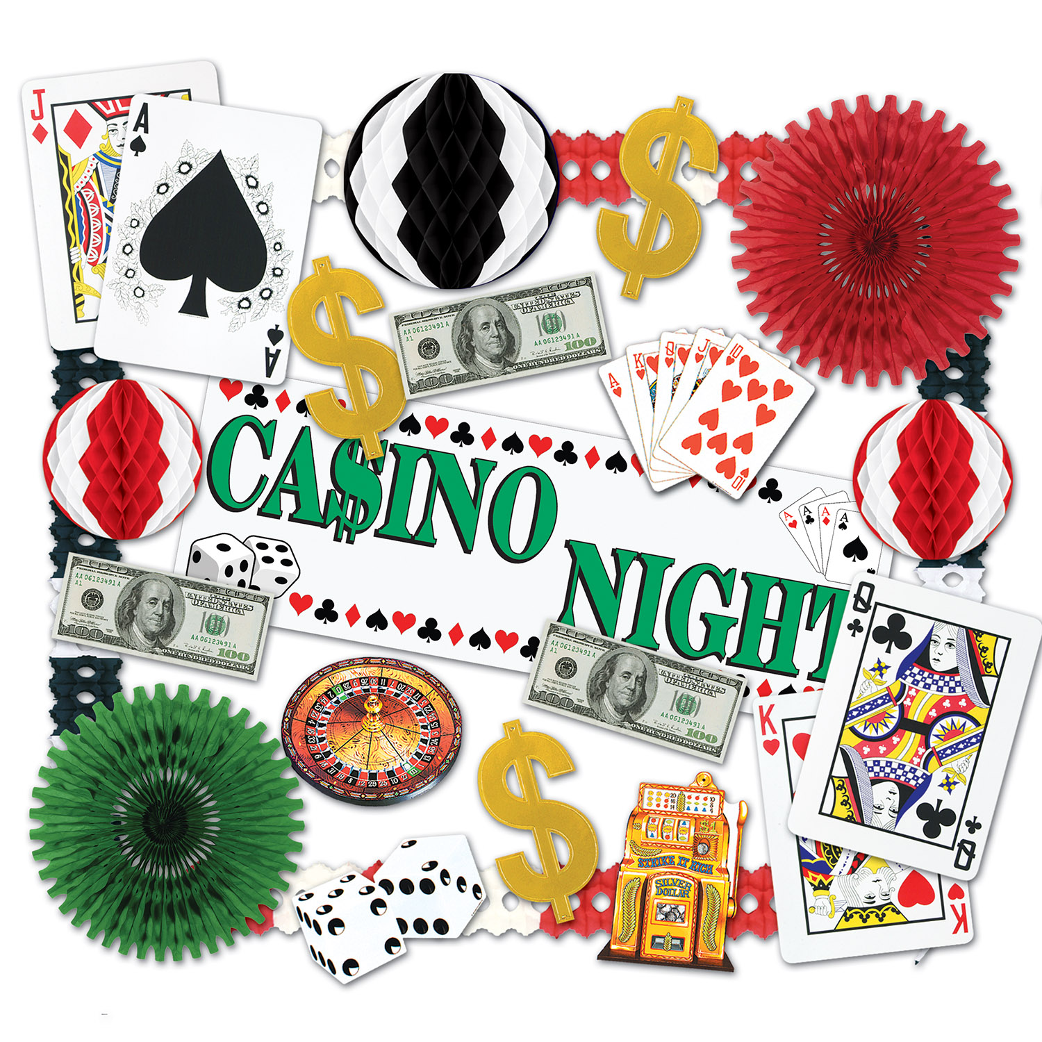 Casino Decorating Kit casino, decorating, kit, garland, banner, cutouts, big, bucks, $, night, event, theme, party, pack, cards, dice, tissue