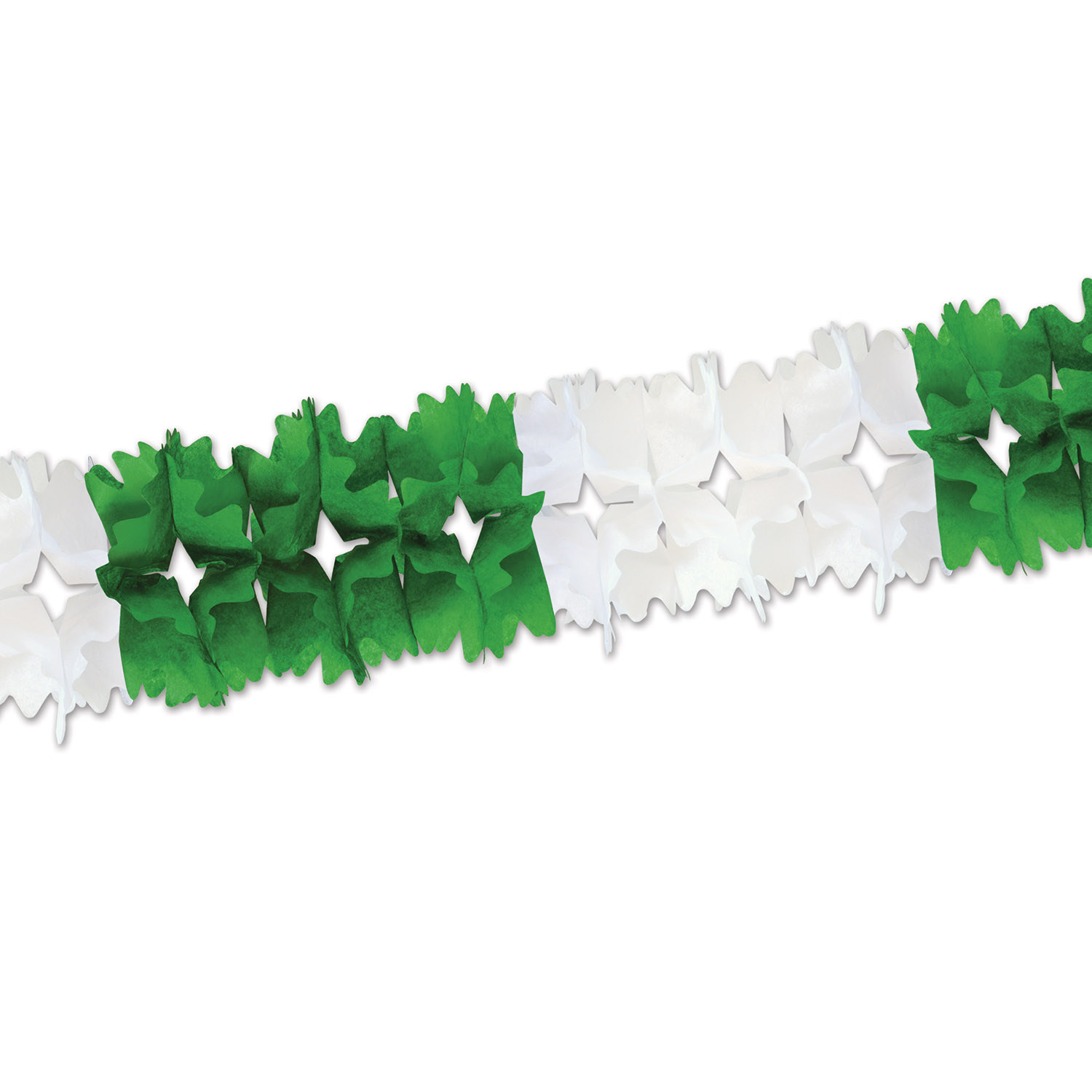 Green and White Pageant Garland (Pack of 12) St. Patricks Day, green, white, garland, tissue paper