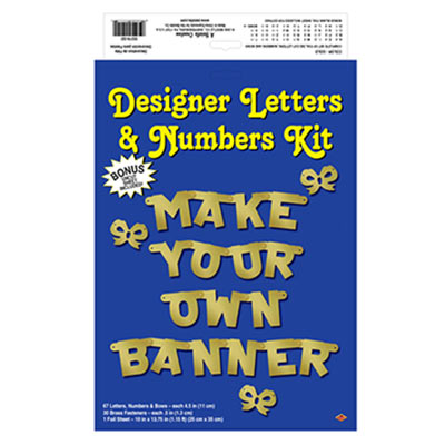 Designer Letters & Numbers Kit with card stock cutout letters to make your own banner saying.