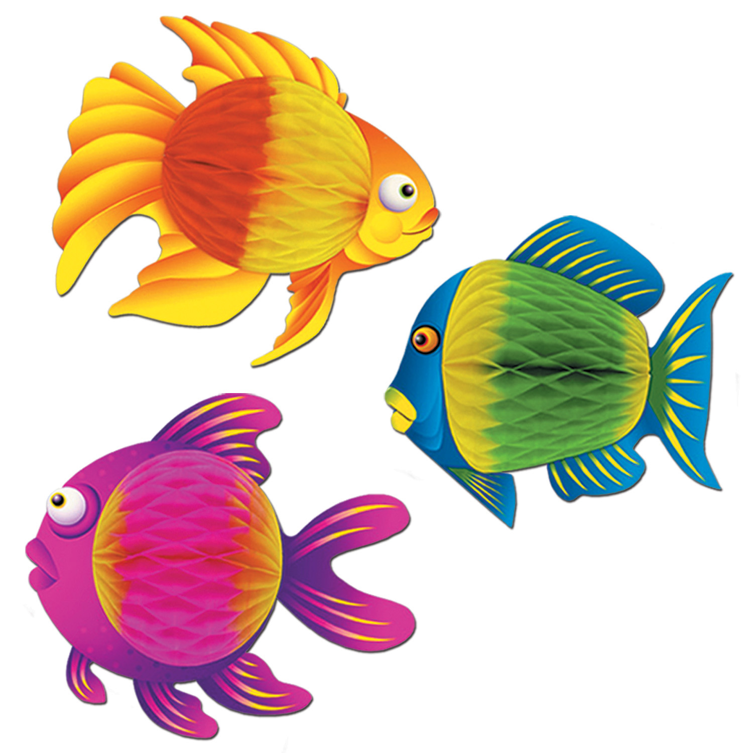 Color-Brite Tropical Fish (Pack of 12) Color-Brite Tropical Fish, decoration, luau, new years eve, summertime, beach, wholesale, inexpensive