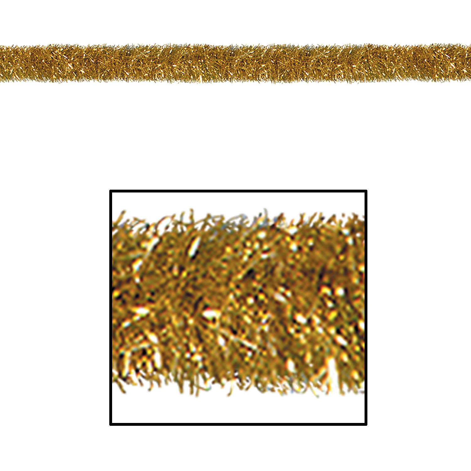Gold Gleam N Tinsel Garland (Pack of 1) Garland, Tinsel Garland, Gold, Shimmering Decor, Cheap, Party Favors, Party Supplies, Wholesale party goods, Inexpensive, New Years Eve, Awards, Hollywood, Christmas, Hanging Decor