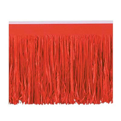 Tissue Fringe Drape made of red tissue material.