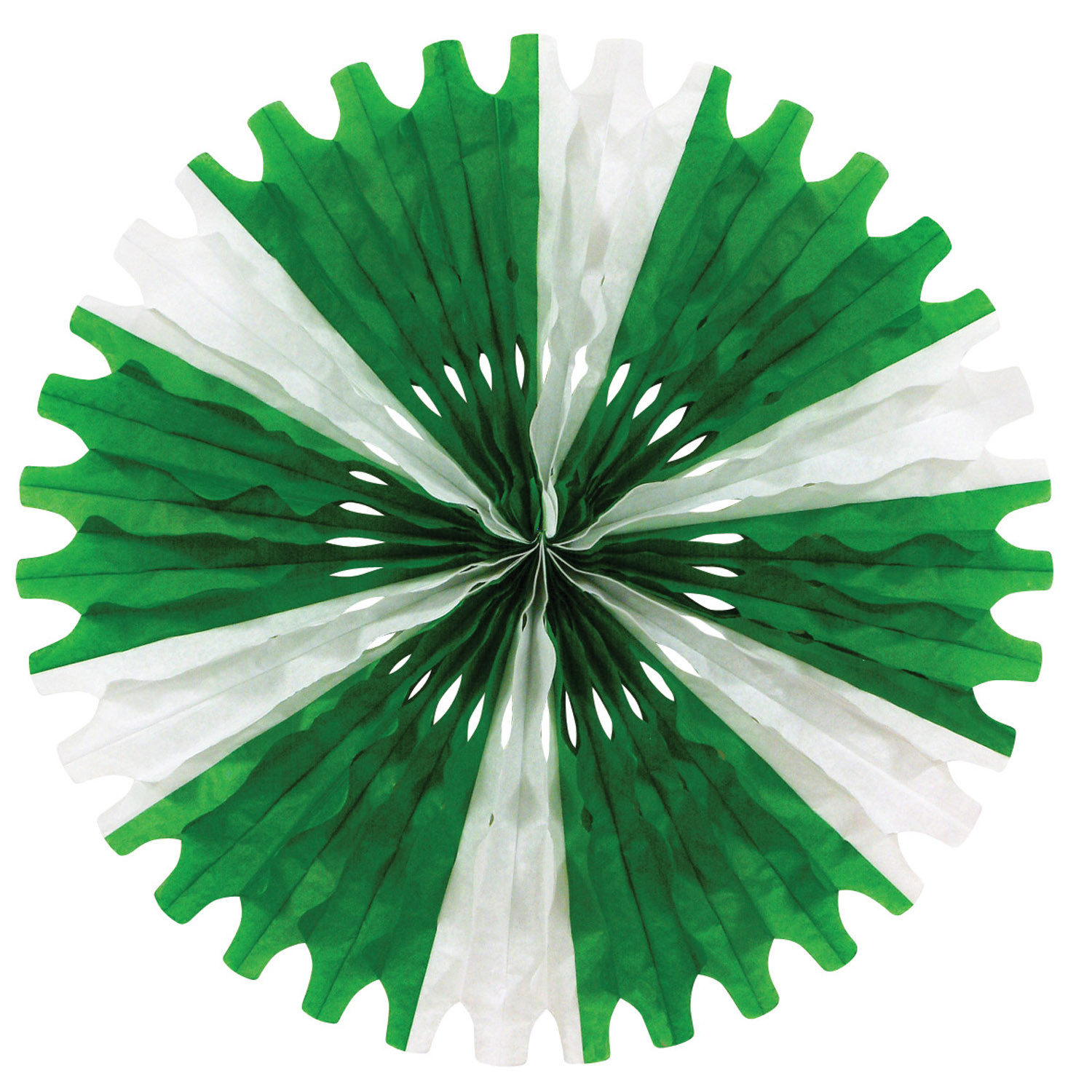 Tissue Fan (Pack of 12) Tissue Fan, decoration, green, white, st. patricks day, new years eve, wholesale, inexpensive, bulk