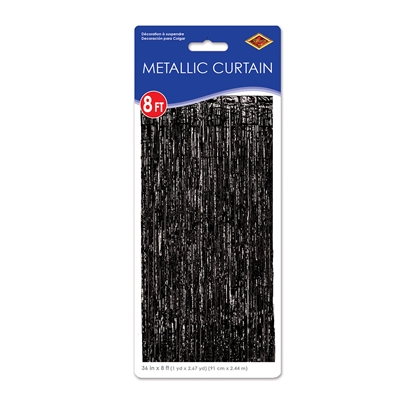 1-Ply Black Gleam N Curtain (Pack of 6) metallic, curtains, photo, booth, nye, black, shine