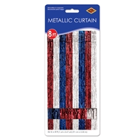 1-Ply Patriotic Gleam 'N Curtain (Pack of 6) ply, patriotic, gleam, curtain, doorway, decoration, red, white, blue, fourth, july, party, pack