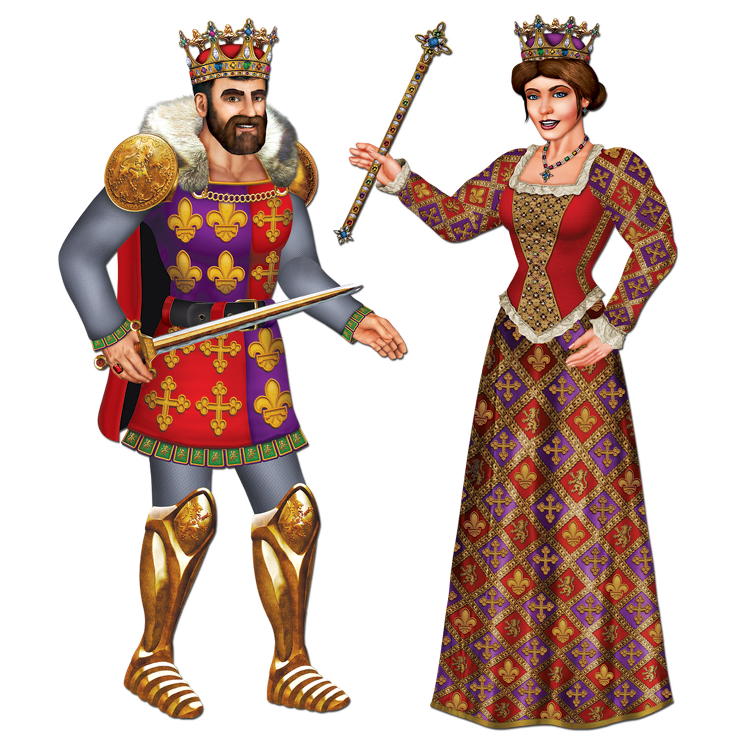 Jointed Royal King & Queen (Pack of 12) Jointed Royal King & Queen, decoration, medieval, king, queen, new years eve, halloween, wholesale, inexpensive, bulk